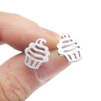 Tiny Cupcake Shaped Stud Earrings in Silver | Allergy Free Earrings