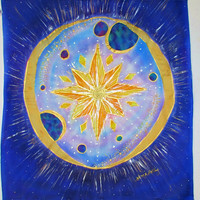 Silk wall hanging, Star Gate, Metaphysical,spiritual, new age, starseeds, Visionary art,