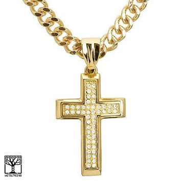 "Jewelry Kay style Men's 14K Gold Plated CZ Cross Pendant 24"" Heavy Cuban Chain Necklace KC 8004 G"