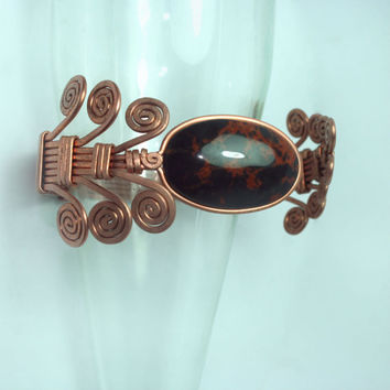copper cuff adjustable bracelet with obsidian armband // anniversary gift // summer // hippie // ancient // raw // hilling // mothers gift