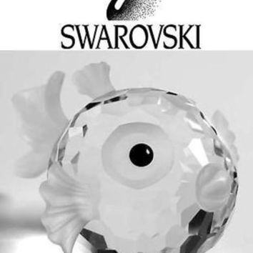 Swarovski Silver Crystal Figurine MEDIUM BLOWFISH #7644NR030 NEW Retired
