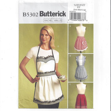 Butterick 5302 Pattern for Misses' Set of 4 Aprons, From 2008, FACTORY FOLDED, UNCUT, Bib & Half Aprons, Rachel Wallis Home Sewing Pattern