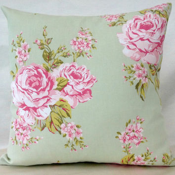 English Rose Sage Green throw pillow cushion cover with vintage chic flowers.  Optional Cushion backs.