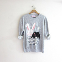 20% OFF SALE vintage Bunnies sweatshirt. Gray novelty sweater