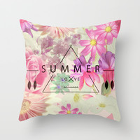 SUMMER LOVE Throw Pillow by Nika
