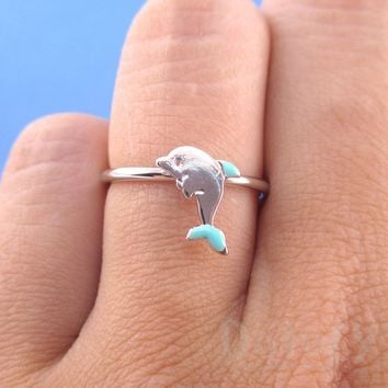 Tiny Dolphin Shaped Sea Creature Themed Adjustable Ring in Silver