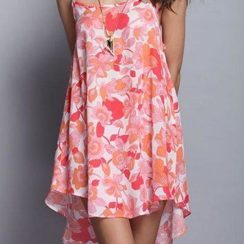 Streetstyle  Casual Pink Floral Spaghetti Strap Draped High-low U-neck Open Back Mini Dress