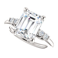 dallas ring - 3.5 carat forever brilliant moissanite engagement ring, diamonds, 14k white gold