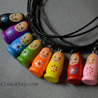 Wooden Russian Doll Necklace | Russian Nesting Dolls | Matryoshka doll Pendant necklace