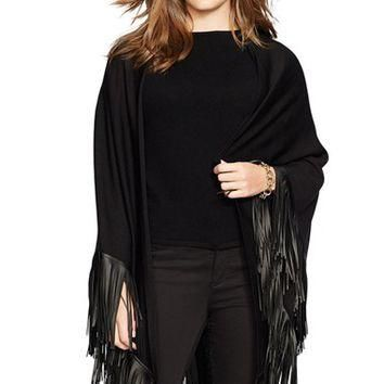 Plus Size Women's Lauren Ralph Lauren Merino Poncho with Faux Leather Fringe - Black