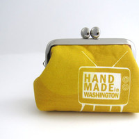 Frame Coin Purse- mini  jewelry case with ring pillow-thezakka original TV print on mustard yellow