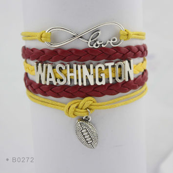 Washington Football - Infinity Love Football Bracelet