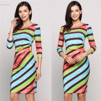 Stylish Women Summer Dress Rainbow Color 3/4 Sleeve Stripe Print Mini Dress 2017 Sexy Package Hip Short Bodycon Party Dresses