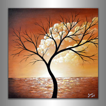 Abstract tree painting clouds wall office decor pastel modern fine art acrylic landscape original painting 20x20 float canvas free shipping