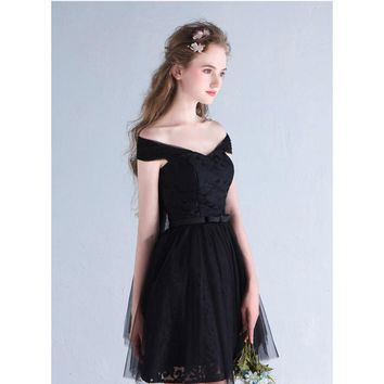 Cocktail Dresses Party Boat Neck Sleeveless Tulle Famous Simple Luxury Little Black Dress