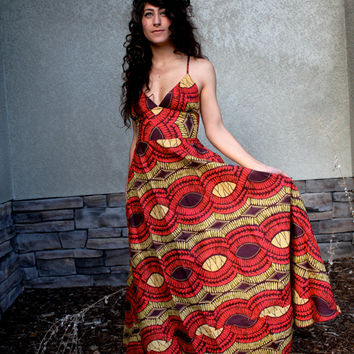Bohemian African Princess Halter Dress - Maxi Gupsy Dress