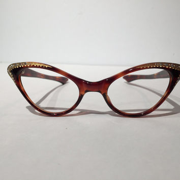 Unused Vintage Amber Rhinestones with Gold Cateye Glasses Frames, Winged Rhinestone Cateye Frame, NOS, Tortoise Shell Brown Sunglasses Frame