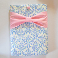 "Macbook Pro 13 Sleeve MAC Macbook 13"" inch Laptop Computer Case Cover Light Blue and White Damask with Pink Bow"