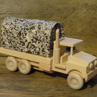 Handmade Wood Toy Army Truck Wooden Toys