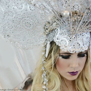 Art Nouveau,headpiece, Silver, Huge,QUEEN, Showgirl,High fashion, Headpiece,headdress,hat,