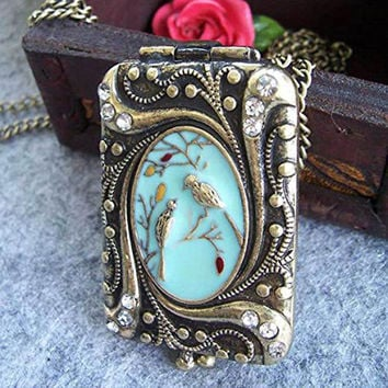 Vintage Necklace Locket Gift Long Necklaces Pendants Women Flower Enamel Crystal Bird Diamante Rhinestone Copper Charm Chain SM6