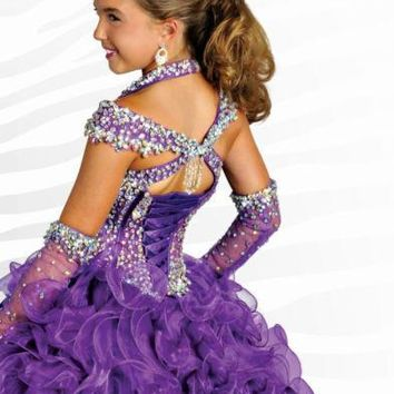 Purple Ball Gown Organza Girls' Pageant Dresses Beaded Crystals 2016 Kids Children Party Wedding Gowns  size 4 6 8 10 12 14