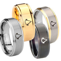 8MM Assassin's Creed Step Edges Tungsten Carbide Wedding Bands Ring Sz 7-14