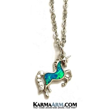 NECKLACE UNICORN | Pave | White Gold Chain Necklace