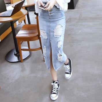 NORMOV Fashion Bodycon Denim Skirts Womens Single-breasted Ripped Hole Vintage Jeans Skirts Sexy High Waist Split Long Skirt