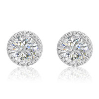 Sterling Silver Halo Stud Earrings with Swarovski Zirconia (3ct tw)