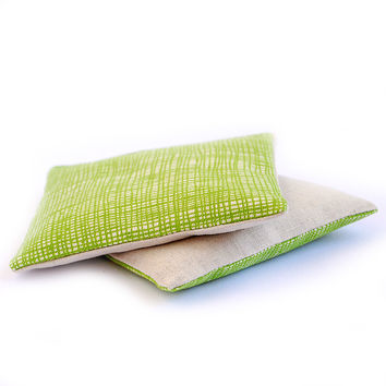 Organic Lavender Sachets in Grass Green Plaid & Linen Fabrics