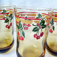 Amber Yellow Gold Juice Glass by Anchor Hocking with Cherries and Berries, Vintage Glass Tumbler, Breakfast Set, Juice Glass Set