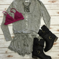 Ruffled Up Romper: Grey