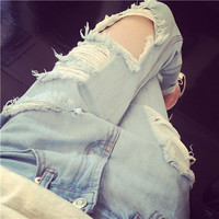 Korean Slim Ripped Holes Baggy Jeans Jeans [6048195585]