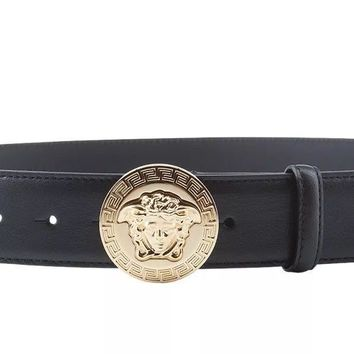 New $450 Versace Classic Medusa Leather Belt Black Gold Size 34 - 38