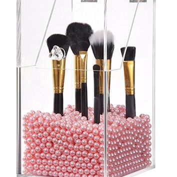 PuTwo Makeup Brush Holder Dustproof 5mm Thick Acrylic Storage Box Makeup Organizer, Pearl, Large, 59.97 Ounce