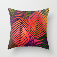 COLORFUL TROPICAL LEAVES Throw Pillow by piaschneider