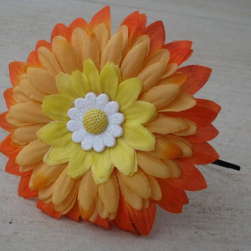 Bright and Festive Glittery Sunflower and Daisy Flower Headband