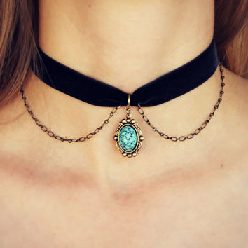turquoise velvet choker, turquoise choker, turquoise necklace, short necklace, hippie necklace, 90s fashion