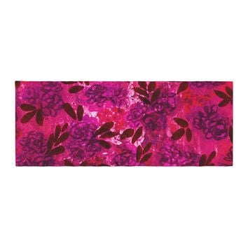 "Ebi Emporium ""Grunge Flowers IV"" Pink Red Bed Runner"