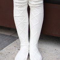 Cream Thigh High Boot Socks