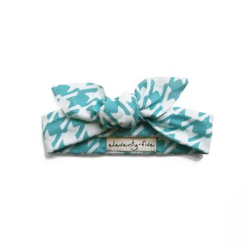 Cats-Tooth Organic Stretch Knit Head Tie in Turquoise For Babies