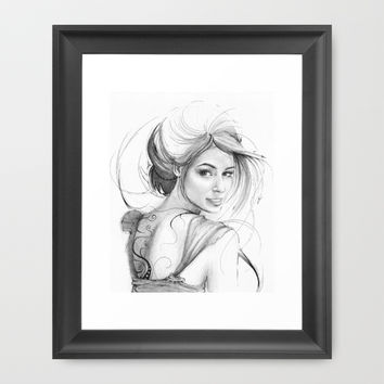 Beautiful Fairy Drawing Framed Art Print by Olechka