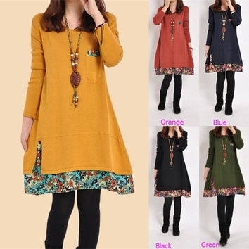 Plus Size Floral Cotton Maternity Dresses Long Sleeve Clothes For Pregnant Women 2015 New Spring Fashion Vestidos Roupa Gestante = 1946316548