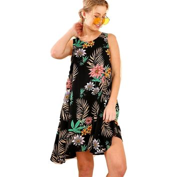 Sleeveless Floral Shift Dress with VNeck Back and Drawstring Tie, Black Multi