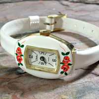Vintage White Watch Swiss Made Chateau Enamel Case in White With Hand Painted Roses White Patent Leather Band Springtime Summertime Anytime