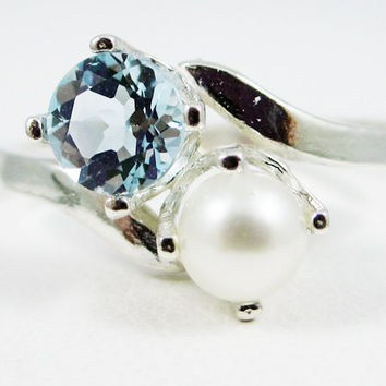 Sky Blue Topaz and Pearl Ring Sterling Silver, December Birthstone Ring, White Pearl Ring, Sterling Sky Topaz Ring, Two Stone Ring