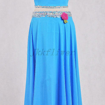 Unique Two Blue Two Piece Prom Dresses,Halter Beaded Homecoming Dresses,Formal Party Dresses,Blue Two Piece Evening Dresses