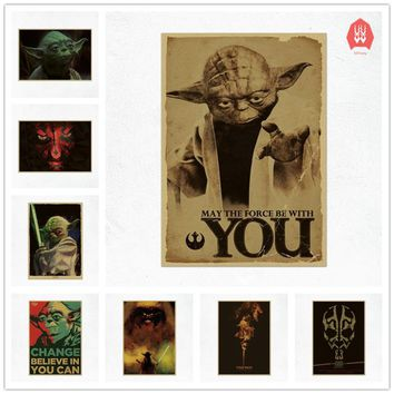 42x30cm Vintage Movie Star Wars Master Yoda Darth Maul Poster Cafe Bar Home Decor Painting Retro Kraft Paper Wall Sticker Gift