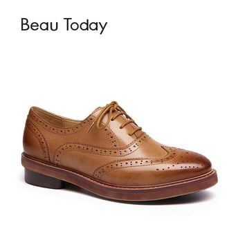 BeauToday Wingtip Oxfords Shoes Female Genuine Leather Waxed Sheepskin Fashion Brogue Style Lace-Up Women Flats 21062